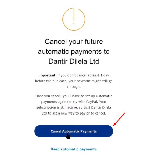 Hủy thanh toán Paypal